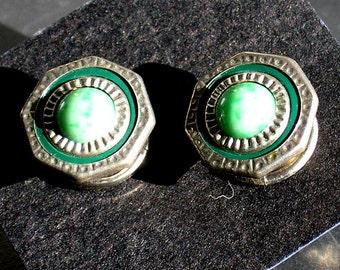 Vintage  jadite snaplink cufflinks Deco style