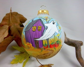 Halloween Ornament, Ghost, Haunted House, Hand-Painted, Spooky, Free Inscription, Purple Orange Green