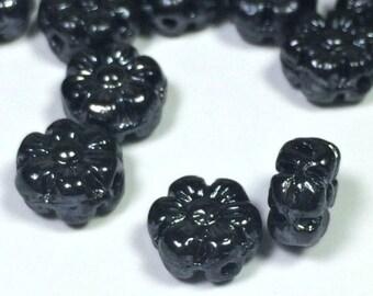 Opaque Black Czech Glass Flower Beads 8mm X 4mm Premium Bohemian Czech Black Flower Beads (50 beads)