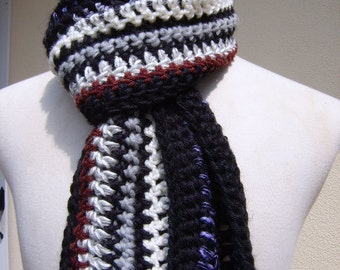 Multi Textured Yarns,Striped Scarf,Long Scarf,Women's Scarf,Men's Scarf,Teen Scarf,OOAK Scarf