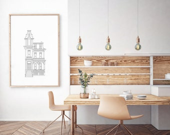 Victorian building outlining drawing. Minimalist scandinavian black and white architecture sketch. Printable digital art. Image only