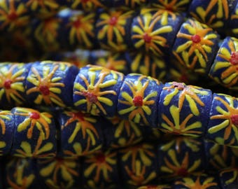 Blue with Yellow Flowers African Sandcast Tube Beads - ASC-T 083