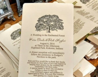 Tree Wedding Fan Programs with Ribbon and Personalized