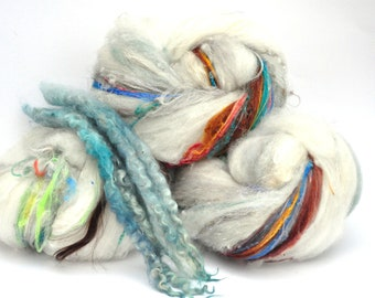 Textured, Chunky Carded Art Batts + Locks - After the Storm - 5.3 ounces - For Spinning or Felting