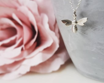 Sterling silver Manchester bee necklace, bee pendant, queen bee necklace, bee charm necklace, bee necklace, insect necklace, nature gift