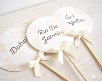 Travel Wedding Table Seating Chart_Travel wedding Markers_Wedding Table Number_Table Chart_Customizable_Hand Made in Italy