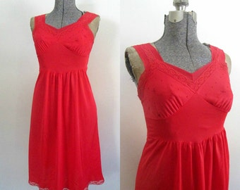 Vintage Mid Century Red Slip / 1950s 1960s Miss Rogers Lingerie Nightgown