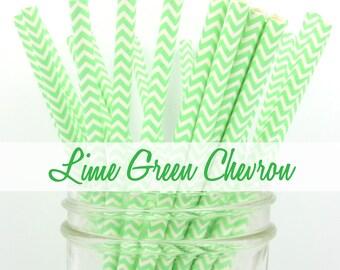 LIME GREEN CHEVRON Paper Straws - Party Paper Straws - Wedding - Birthday Decorations