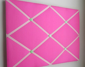 "16""x20"" Hot Pink Preppy Memory Board Bow Holder Ribbon Board, Photograph Holder, Business Card Holder, Vision Board, Memo Board, Ribbon"