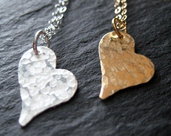 Necklace - Hammered Heart Pendant Necklace - Sterling Silver Necklace - 14k Gold Fill Necklace