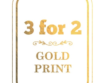 3 for 2 Real Gold Foil Print, Special offer, Anniversary gift, A4, Birthday Gift, Wedding, Illustration Art Print
