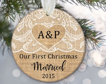 Our First Christmas Married Engaged Together Personalized Christmas Ornament Burlap & Lace Ornament Wedding Engagement Gift OR316