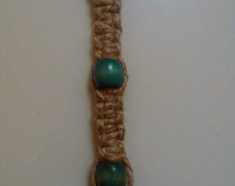 Hemp Cord and Wood Bead Keychain