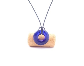 Recycled wine bottle loop pendant in blue glass/Kiln-fused necklace handmade from upcycled wine bottle glass