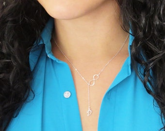 Personalized Infinity Necklace, Lariat, Sterling Silver lariat, Initial, Personalized Letters Necklace, Initial Pendant, Initial Charm