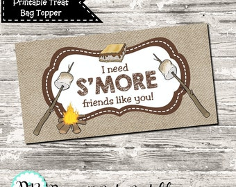 INSTANT DOWNLOAD I Need S'More Friends Like You Treat Bag Topper Digital Printable