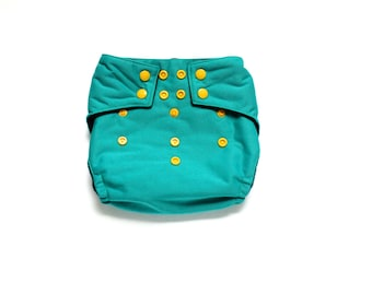 OS Pocket diaper, Teal, PUL cloth diaper cover, snap closure diaper, 10 to 30 pounds, teal diaper, green diaper