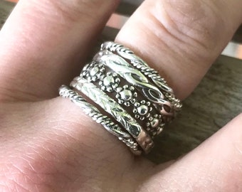 Stackable Sterling Silver Rings   Boho Silver Rings   Silver Stacking Rings   Textured Sterling Silver Ring Set   Boho Stacking Ring Set