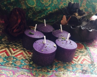 Purple votive candles, spell candles, spiritual altar candle, reiki healing