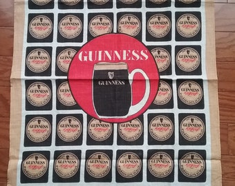 SALE -Guinness motif Irish Linen tea towel
