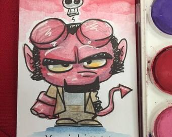 Hellboy (Anung Un Rama) - WATERCOLOR Sketch Card ACEO original art
