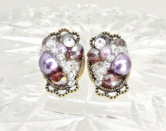 Purple Rhinestone Earrings- Purple Post Earrings- Bridal Earrings- Purple Studs- Wedding Earrings- Purple Bridal Earrings- Clip Earrings