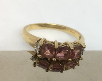 Vintage 9ct 3 pink tourmaline and diamond ring size N