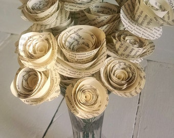 Wedding Flowers - Book Page Roses - Stemmed Roses - Set of 30 - Book Page Bouquet - Book Themed Wedding