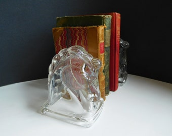 Mid-century glass horse head bookends Federal glass horse heads Equestrian decor