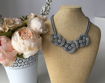 Gray statement necklace- Rope knot Necklace- Bib necklace- Rope jewelry-  Gray rope necklace- Nautical necklace- Christmas gift for her