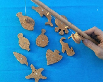 Wooden toy Children fishing rod magnets Personalized Christmas gift photo prop Wooden fish Educational Toys dolphin fish seahorse starfish