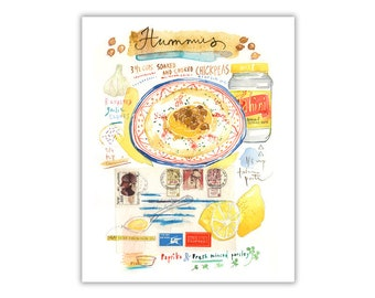 Hummus recipe print, Kitchen wall art, Watercolor israeli food, Food illustration, Cook in Israel, Chickpea painting, Mediterranean decor