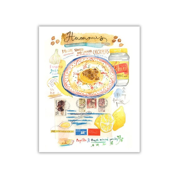 Hummus recipe print Kitchen wall art Watercolor israeli