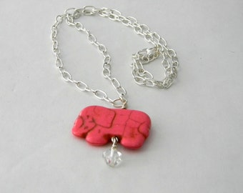 Pink Elephant Chain Necklace 20 Inch Silver Chain Stone Necklace