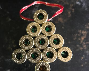 Christmas tree bullet casing ornament