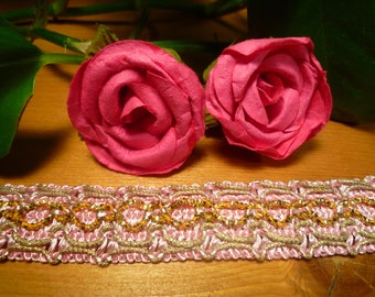 Pale pink lace embroidered gold threads/beads
