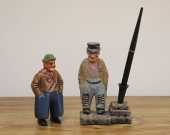 Pair of Vintage Syroco Wood/Composite Art Pieces - Fountain Pen Holder and Paperweight - Hobo Men