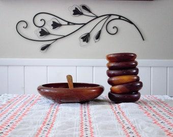 Vintage Wood Bowl Set, 8 piece set of 6 wooden salad bowls, large bowl, and spoon