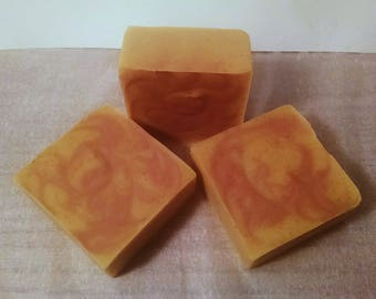 Orange & Cedarwood Goat Milk Soap - Handmade All Natural with Shea Butter, Cocoa Butter, Orange Peel, and Colloidal Oatmeal