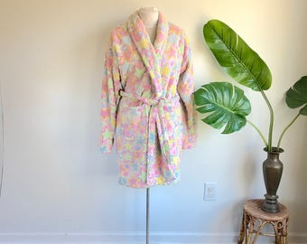 Vintage Pink Terrycloth Stars Robe by TJ Lawford Size Small