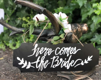 Here Comes The bride - Chalk Board Sign for a wedding