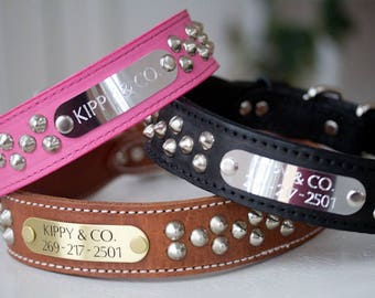 1.5 Inch Cone Stud Dog Collar, Leather Dog Collar, Wide Studded Dog Collar, Engraved Dog Collar, Personalized Collar, Large Leather Collar