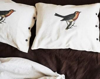LINEN  BEDDING Set, Handmade, White, Organic, Natural, Flax Linen, Bird Print