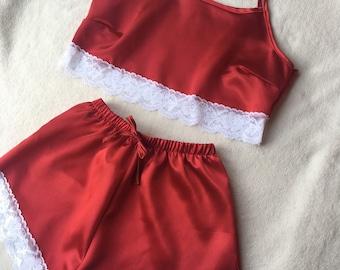 Dark Red & White Lace Pyjama Set