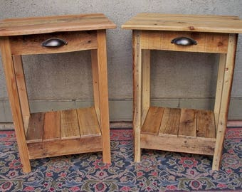 Handmade Rustic Nightstand / End Table from reclaimed wood / pallet wood / Shabby Chic