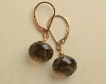 Smokey Quartz Earrings, Brown Gemstone Earrings, Faceted Onion Gemstone Earrings, Gemstone Gold Leverback Earring