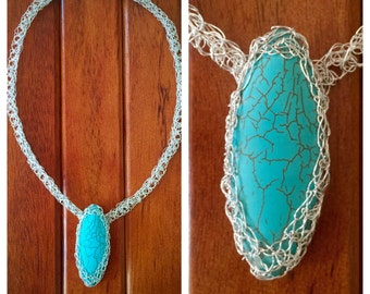 Woven silver Turquoise necklace crochet jewelry wire crochet-filigree-wirewrapped-silver choker- necklace-silver wire jewelry, silver choker