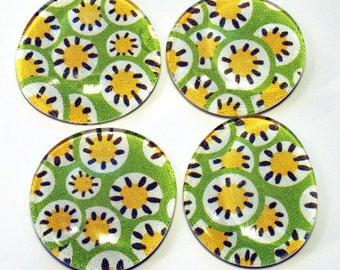 Funky Refrigerator Magnets Glass Marble Magnets in  Lemon Lime  |M49|