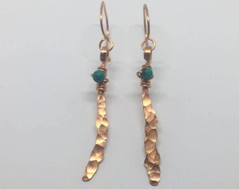 Copper and Turquoise earrings, hand forged copper earrings, rustic style, design jewelry, Turquoise earrings, bohemian style,