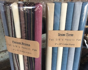 Fabric: Fat Eighth Mini Pencil Pak - Winter Themed 6 piece collections